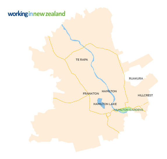 Hamilton Map New Zealand.Living And Working In Hamilton Working In New Zealand
